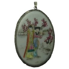 Vintage China Chinese Wedding Figural Pendant Silver Painted Porcelain 1920's Necklace