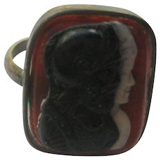 Vintage Victorian Figural Ring Sterling Silver Double Cameo Carved Size 3-1/2