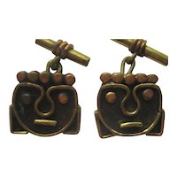 "Vintage Mexico taxco MODERNIST"" Cufflinks ""FACES""  Brass Copper Mexico Taxco Cuff Links"