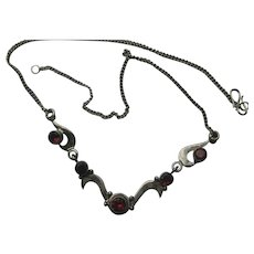 Vintage GARNET PIGEON BLOOD Necklace ART DECO Bright 925 Sterling Silver 1920's Awesome