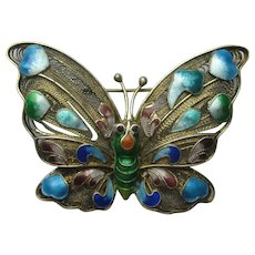 Vintage China Chinese BUTTERFLY Figural ENAMEL Pin Necklace Blue Red  1930's