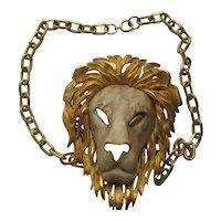 Vintage RAZZA Lion Necklace 1950's Realistic