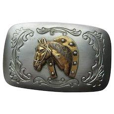 Vintage  COWBOY Horse Belt Buckle 1950's