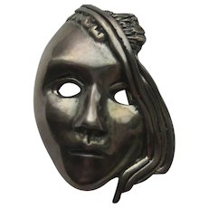Vintage MASK ABSTRACT Sterling Silver Face Figural 1930's Patina
