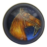 Vintage Horse Pony Figural 1930's GLASS DOME Brass Back Pin Brooch