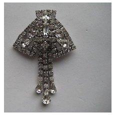 Vintage Kramer New York Rhinestone Dangle Layered Brooch Pin