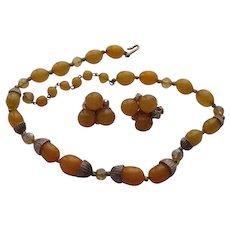 Vintage Hobe Butterscotch Acorn Lucite Necklace Clip Earrings Set