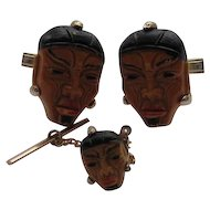 "Vintage China Japan ""HEAD FACE""  Enamel Figural Celluloid Cufflink Tie Tack Set"
