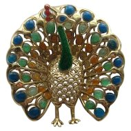 Vintage Alice Caviness Germany PEACOCK Enamel Sterling Silver  Realistic Pin Brooch