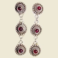 Etruscan Revival Sterling & Garnet Cabochon Chandelier Earrings