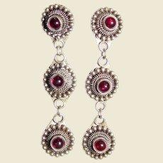 Etruscan Revival Sterling & Garnet Cabochon Chandelier Earrings