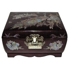 Mother of Pearl Inlaid Lacquered Wood Jewelry Music Box, Peacock Design!