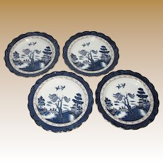 "Four Booths Real Old Blue Willow 10"" Dinner Plates, Excellent Condition"
