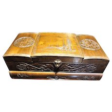 Asian Wooden Jewelry Box, Hand Carved, HUGE