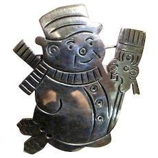 Heavy Sterling Snowman Pin Pendant, 20 grams