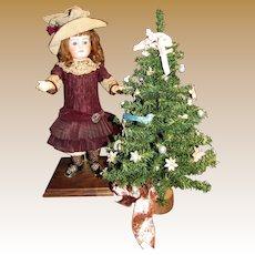 "Miniature 17"" Christmas Tree w/ Feather Bird & Ribbons!"