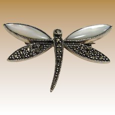 Sterling, Marcasite & Mother of Pearl Dragonfly Pin