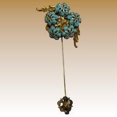 Art Deco Czech Filigree Enamel Stick Pin, Ornate Gilt Layers