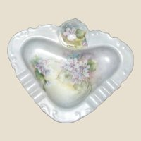 Hand Painted Ladies Ashtray, Decorated with Flowers, Mint