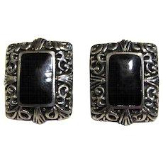 Stylish Mexican Sterling & Onyx Pierced Earrings