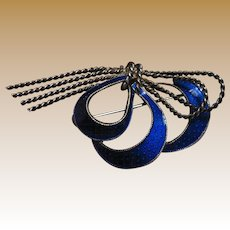 "Art Deco Sterling & Cobalt Enamel 2 1/2"" Bow Pin"