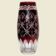 """Vintage Vase, Bohemian Glass, Ruby Red Cut To Clear Crystal,  7 1/2"""""""