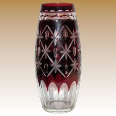 Vintage Vase, Bohemian Glass, Ruby Red Cut To Clear Crystal,  7 1/2""