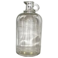 Vintage Ribbed Pour Spout 1/2 Gallon Vinegar / Apple Cider Bottle, Mint