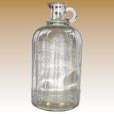 Vintage Ribbed Pour Spout 1/2 Gallon Vinegar / Apple Cider Bottle, Mint