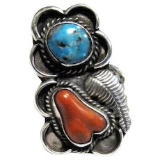 Impressive Native American Sterling, Turquoise & Coral Ring