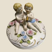 Lovely Bisque Trinket Box, Flowers & Cherubs!
