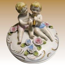 Lovely Bisque Trinket Box, Flowers & Cherubs!