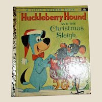 Vintage Huckleberry Hound and the Christmas Sleigh, HC 1960 1st Edition, 1st Printing, Little Golden Book
