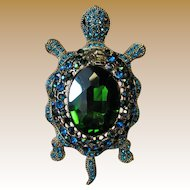 "Large 3"" Rhinestone Turtle Pin, Fun & Glamorous!"
