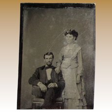 1870's Tintype Photo Young Well Dressed Couple