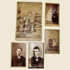 5 Victorian Photos of Children, Couple and Young Men