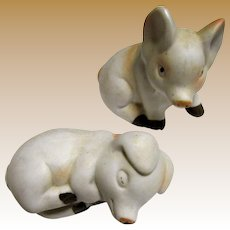 Darling Pair of Bisque Little Pig Shakers