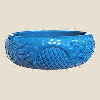 Stylish Turquoise Sunflower Design Hard Plastic Bangle