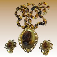 Whiting & Davis Cameo Necklace & Earring Suite