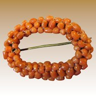 Antique Braided Natural Salmon Coral Bead Pin