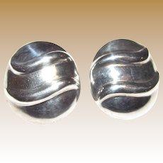 Beautiful Domed Sterling Modernist Pierced Earrings