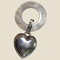 1934 Sterling Heart Rattle & Teething Ring by Lullaby