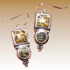 Sterling & Tiger Jasper Pierced Dropper Earrings