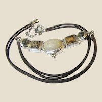 Sterling & Mixed Jasper Leather Thong Necklace