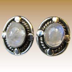 Sterling & Moonstone Large Stud Earrings