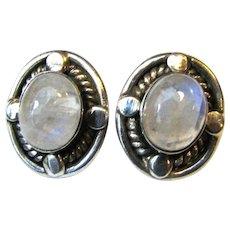Sterling & Moonstone Large Stud Earrings