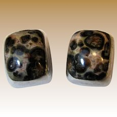 Mexican Taxco Sterling Silver Tiger Jasper Clip Earrings