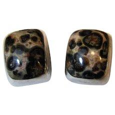 Mexican Taxco Sterling Silver Tiger Jasper Clip Earrings