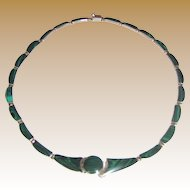 Mexican 950 Sterling Malachite Necklace
