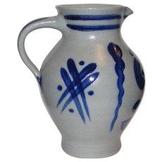 M Schilz German Salt Glazed 1 Liter Pitcher w/ Cobalt Decoration
